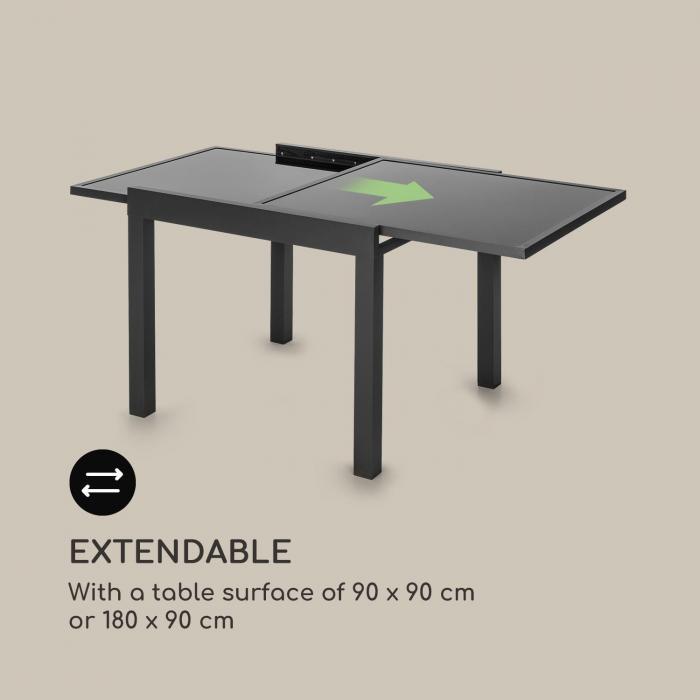 Pamplona Extension puutarhapöytä 180 x 83 cm alumiini lasi tummanharmaa