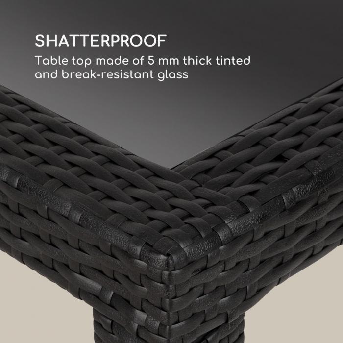 Peniche Gartentisch 150 x 90 cm Polyrattan Aluminium Glas schwarz