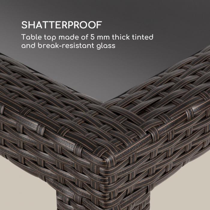 Peniche Tavolo da Giardino 150 x 90 cm Polirattan Alluminio Vetro marrone