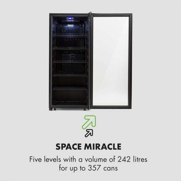 Beersafe 7XL frigorifero per bevande 242L A+ vetro acciaio inox