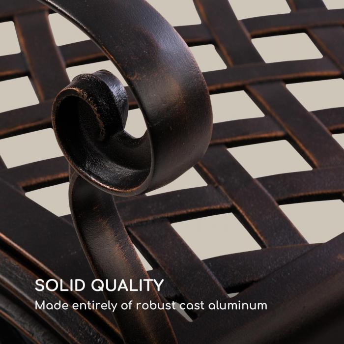 Pozzilli AN panca da giardino in alluminio pressofuso resistente alle intemperie rame anticato