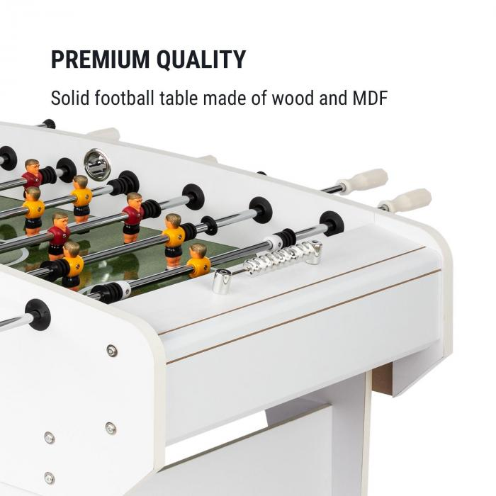 Old Trafford voetbaltafel 118 x 68 cm hout/MDF wit