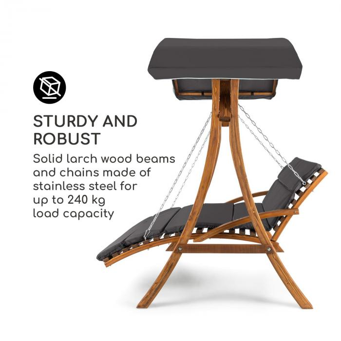 Aruba Swing Lounger Sun Roof 130cm 2-Seater Solid Wood Grey