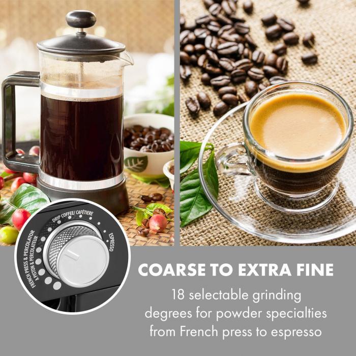 Florenz Macina per Caffè 200W Macina a Dischi in Acciaio Inox nero