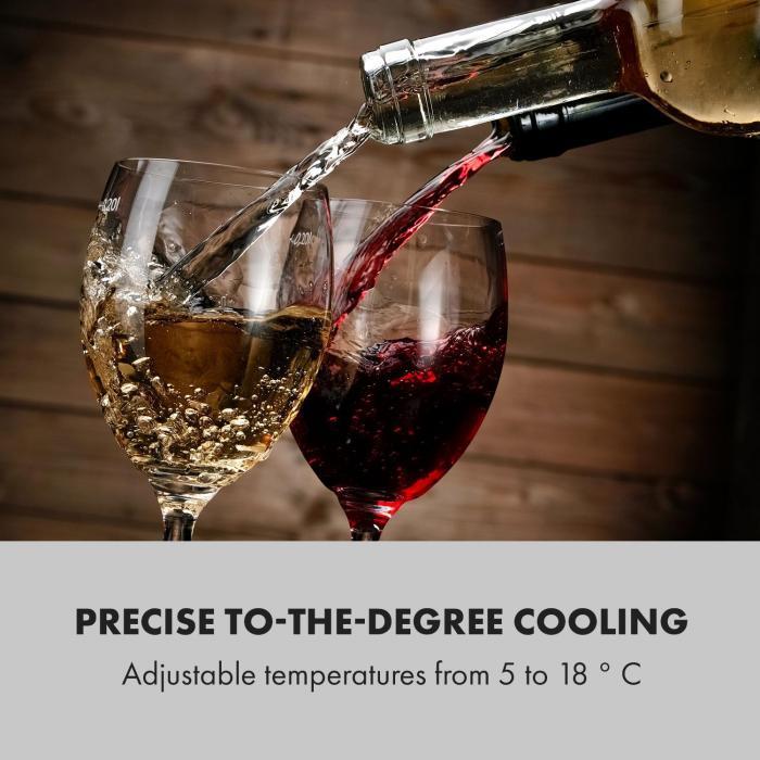 Shiraz Wine Refrigerator 42l Touch Panel 131W 5-18 ° C Black