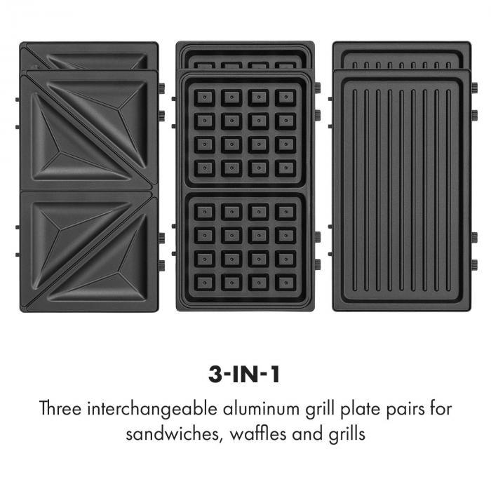 Trilit 3-in-1 Sandwich Maker 750w 3 grillilevyä LED tarttumaton pinta musta