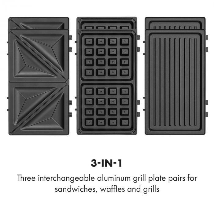 Trilit 3-in-1 Sandwich Maker 750w 3 grillilevyä LED tarttumaton pinta punainen