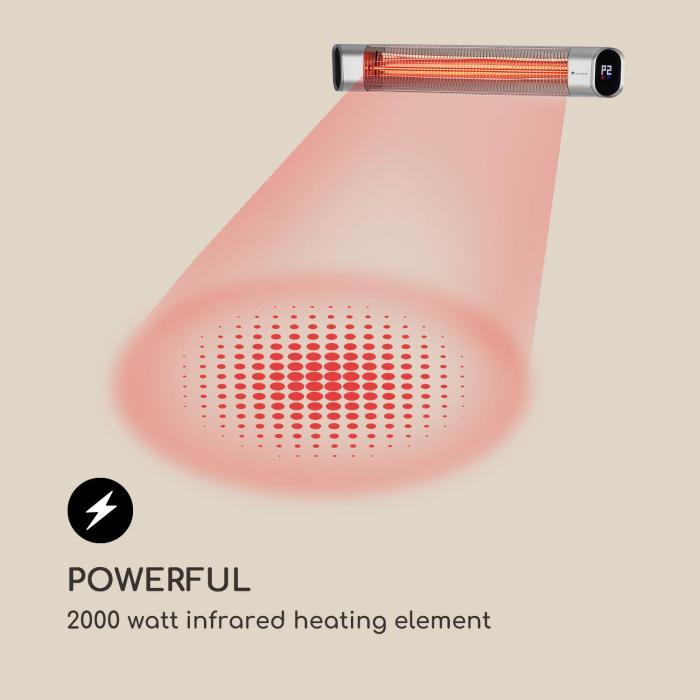 Dark Wave Radiatore a Infrarossi 2000W IP65 Alluminio argento