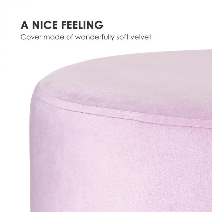 Bella Upholstered Stool 35x50cm (HxØ) Velvet Rose
