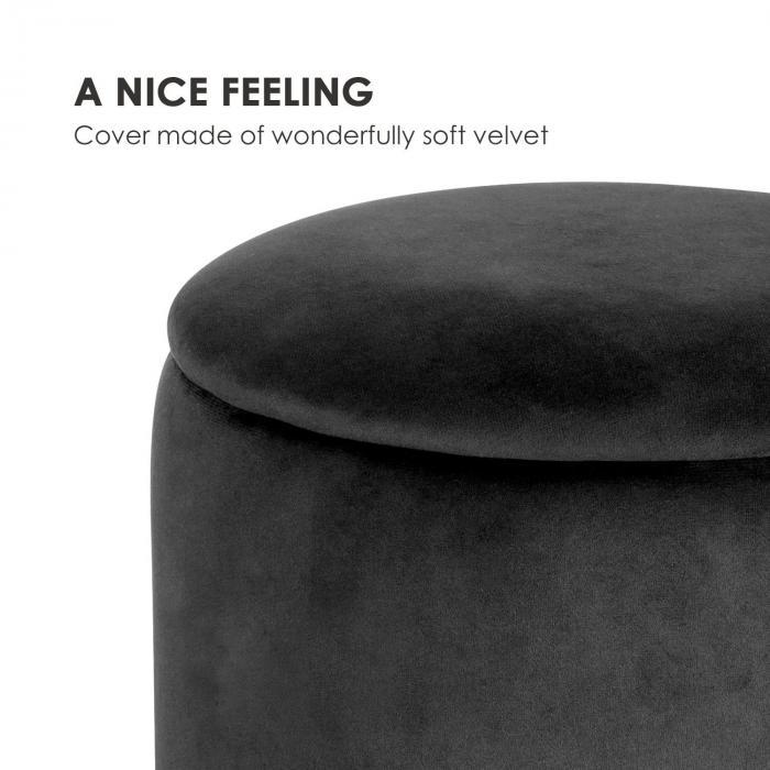 Gigi Upholstered Stool 38x31cm (HxØ) Inner Compartment velvet black
