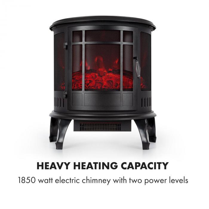 Megève Camino Elettrico 1850W Fuoco LED Termostato Dimmer nero