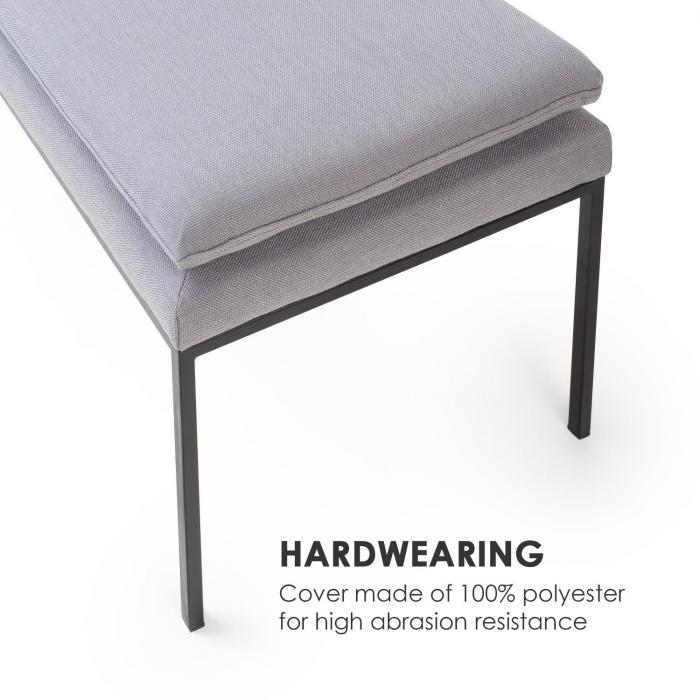 Eloise panca imbottita imbottitura in poliuretano espanso rivestimento in poliestere gambe d'acciaio grigio