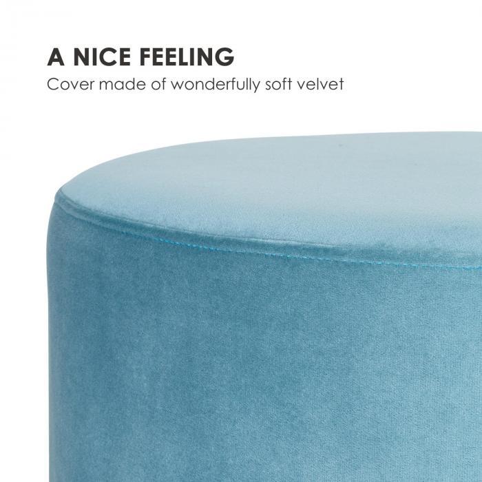 Bella Upholstered Stool 35x50cm (HxØ) Velvet Petrol