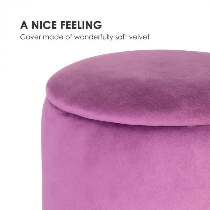 Gigi Upholstered Stool 38x31cm (HxØ) Inner Compartment velvet violet