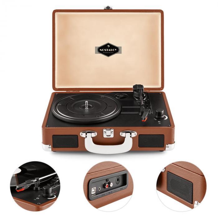 Auna Peggy Sue Record Collector setti ruskea retrolevysoitin levylaukku