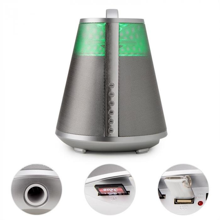 FREESOUND65 Bluetooth-kaiutin akku 360° Sound LED AUX USB SD UKW hopea