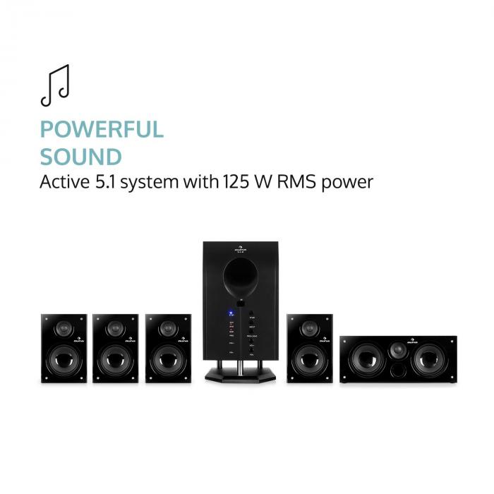 Areal 525 Bk 5.1 Surround Sound Active Speaker System 125 W RMS