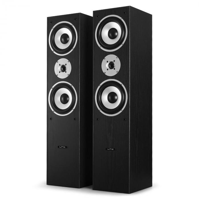 l766 3 wege bassreflex hifi boxen paar 180w rms schwarz. Black Bedroom Furniture Sets. Home Design Ideas