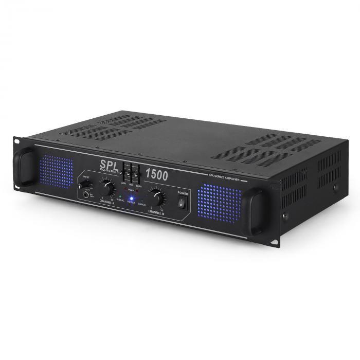 Amplificador HiFi PA Skytec SPL-1500-EQ - 48cm, efecto LED