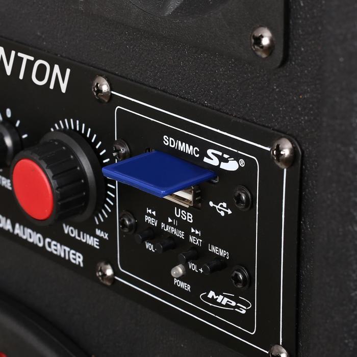 "SPB-210 Pair Dual 10"" Bass Master/Slave Powered PA Speakers USB SD MP3"
