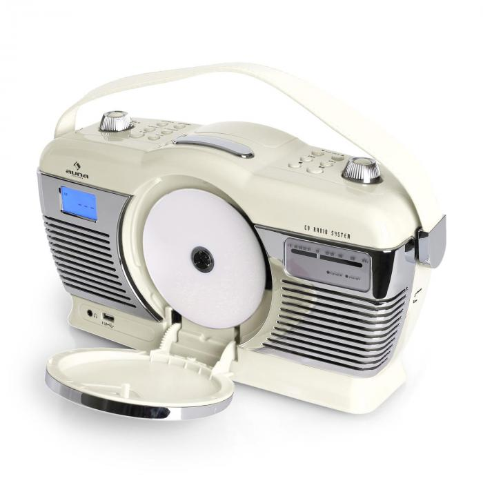 RDC-70 Retro-radio UKW USB CD batterij creme