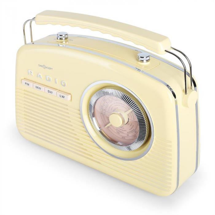 NR-12 Kannettava retroradio FM/AM, cream yellow