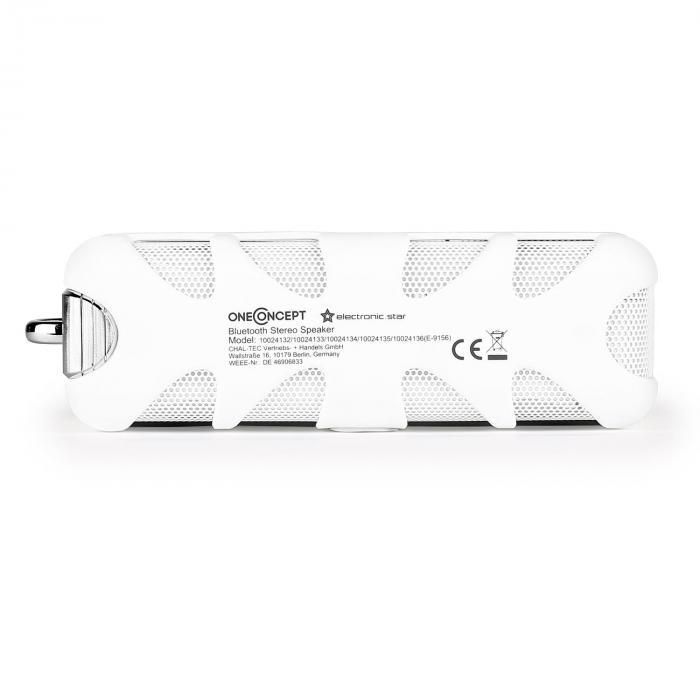 oneConcept White Know - Altavoz Bluetooth AUX blanco
