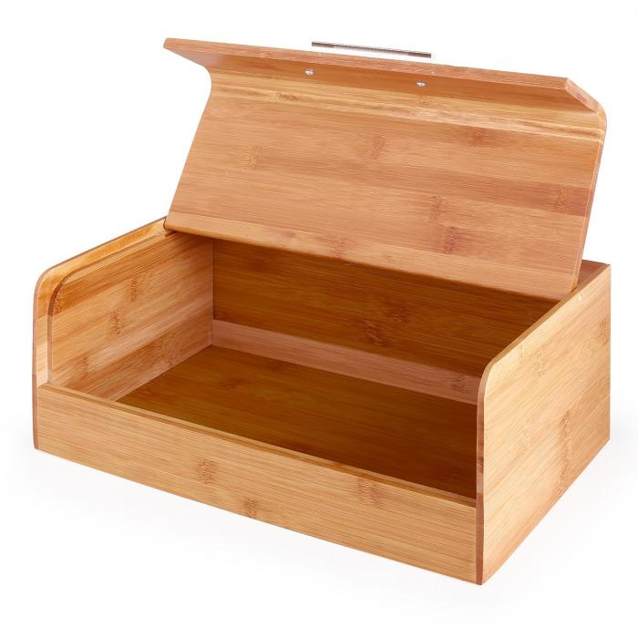 Basket No. 9 Bamboo Bread Box with Metal Handle 7L