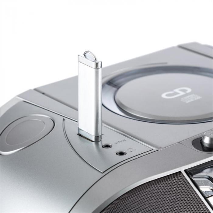 Jetpack Portable Boombox USB CD MP3 FM Battery Grey