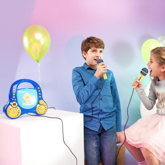 Rockpocket lasten karaokelaite CD AUX 2 x mikrofoni tarrat sininen
