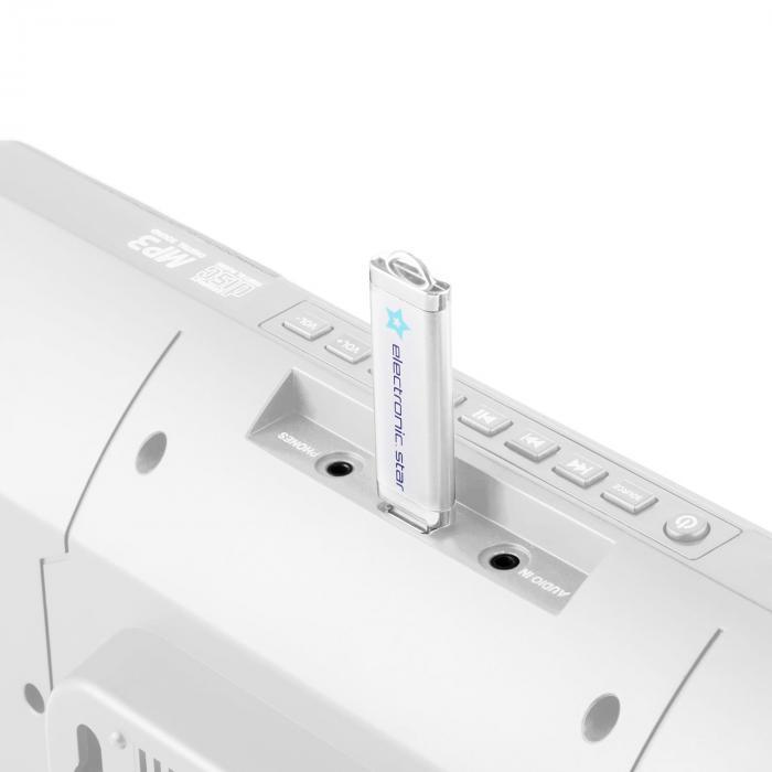 V-13 Cadena estéreo CD MP3 USB Radio Despertador blanca montaje mural