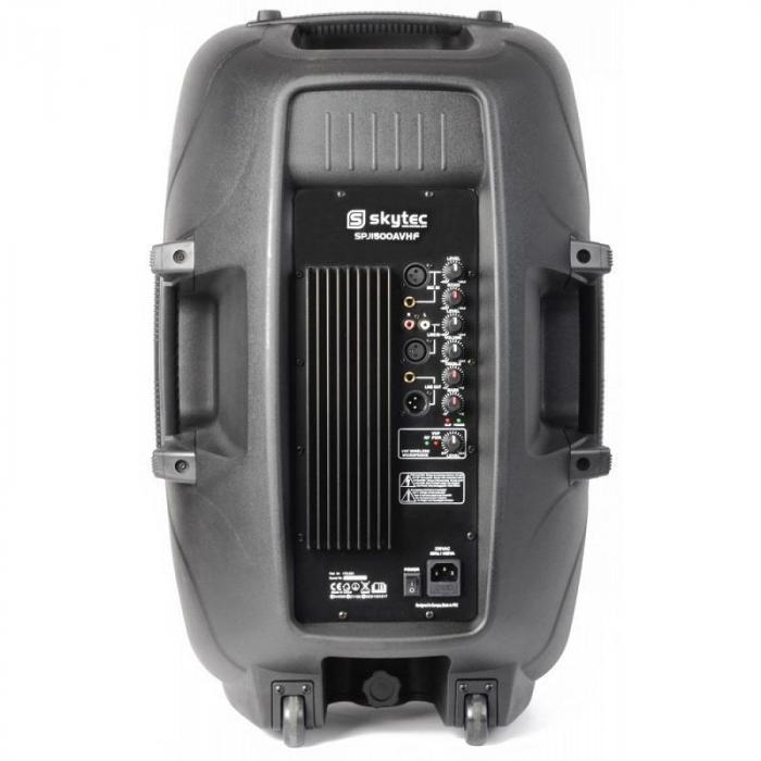 """SPJ-1500A Altoparlante-PA attivo 38 cm (15"""") 800W VHF AUX incl. Microfono"""