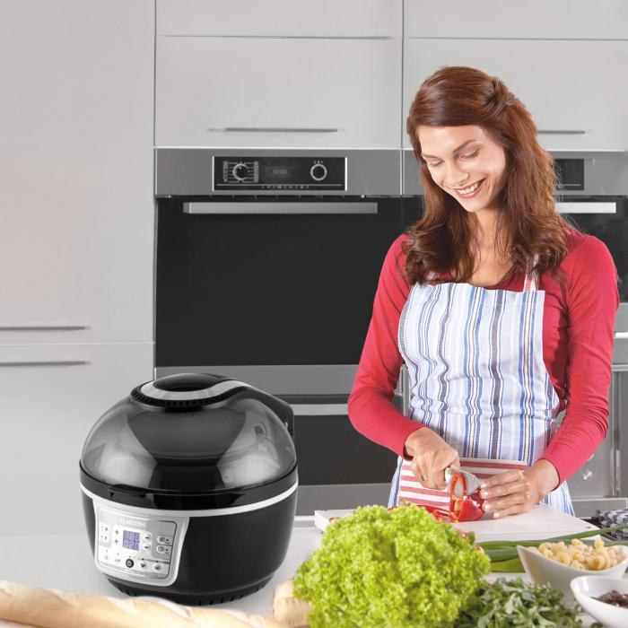 VitAir Turbo Hot Air Fryer 1400W Grilling Baking Grey Black