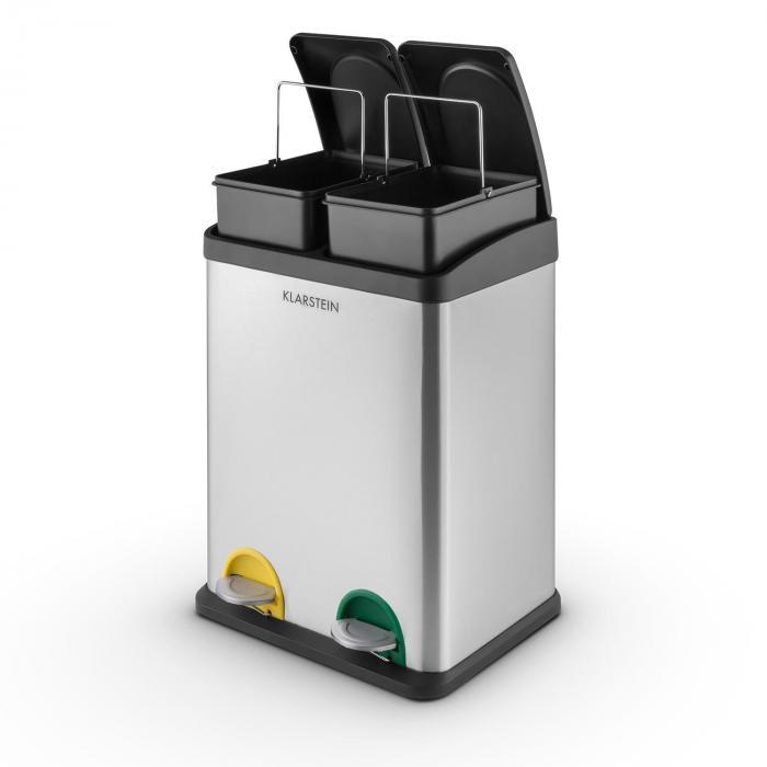 Ökosystem 2 x 18 teräksinen roska-astia 36 litraa kierrätys