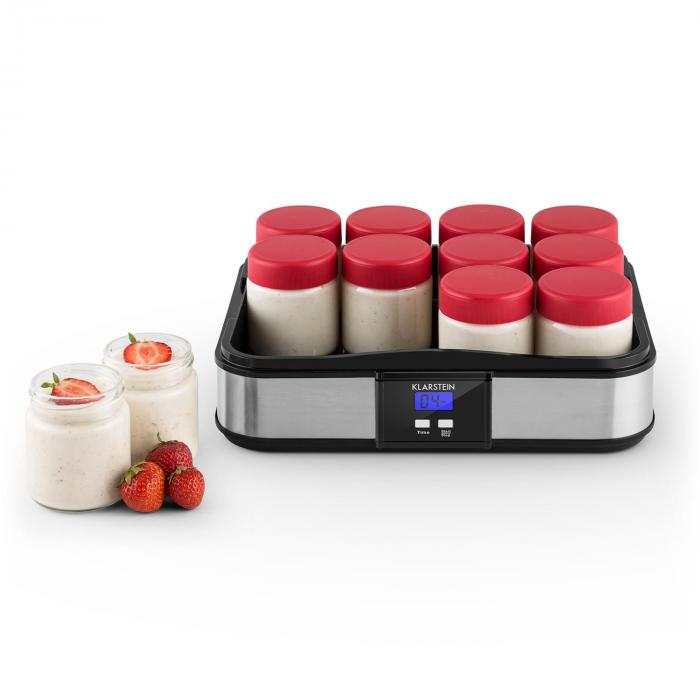 Gaia Stainless Steel Yoghurt Maker with 12 Jars and Timer Black