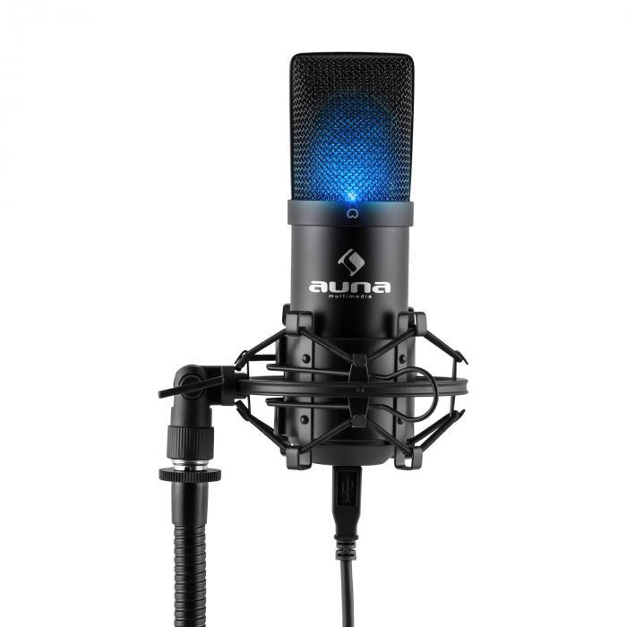 MIC-900B-LED Set Microfoni USB Condensatore V5 Anti-Pop Nero