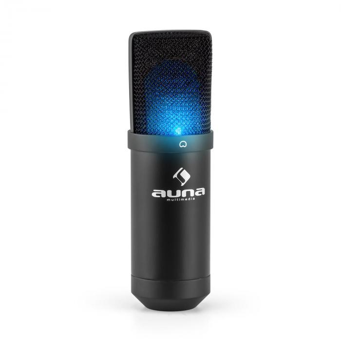Auna MIC-900B-LED USB mikrofonisetti V1 | musta kondensaattorimikrofoni | pöytäpidike