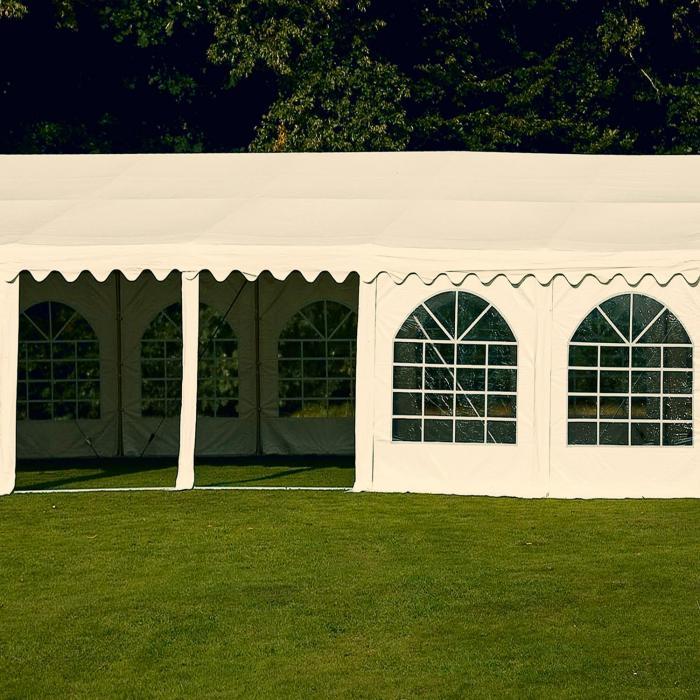 Blumfeldt Summerfest Outdoor Garden Party Tent Marquee PVC Waterproof Galvanised White 6 x 12 m 500 g / m² White