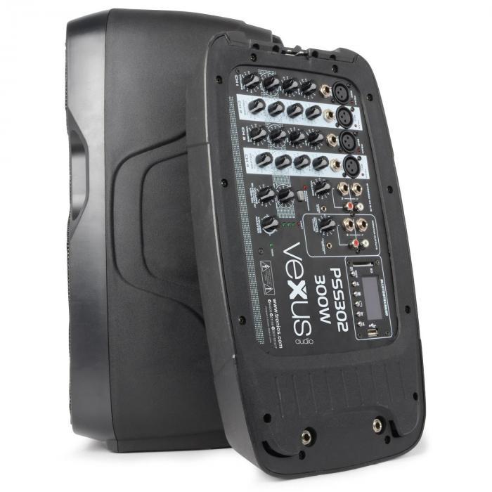 PSS302 liikuteltava PA-audiojärjestelmä 300 W max. bluetooth USB SD MP3 2 x jalusta 1 x mikrofoni