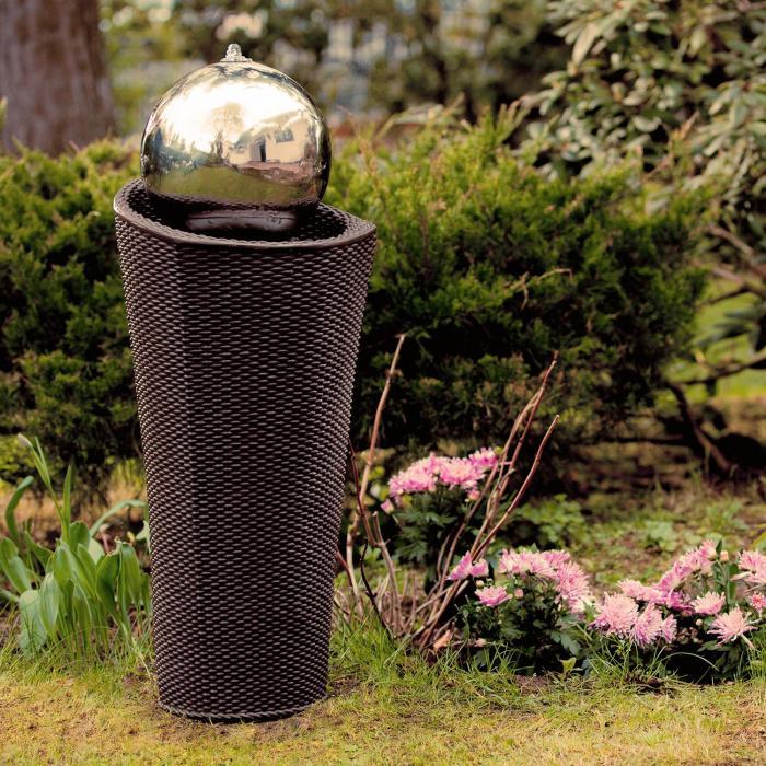 Belice Zierbrunnen Gartenbrunnen LED Polyrattan 22 cm Kugel Edelstahl