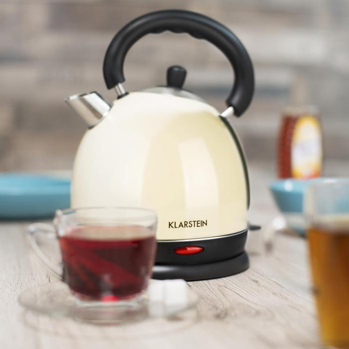 Teatime Wasserkocher Teekessel 1850W 1,8 Liter Edelstahl creme