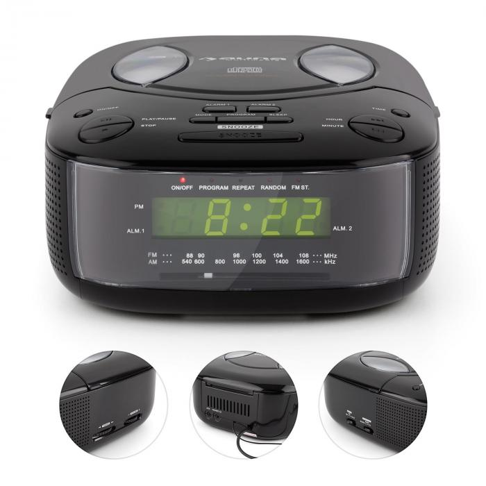 Dreamee BK Radiowekker met CD-Speler UKW/MW AUX Dubbel-Alarm zwart