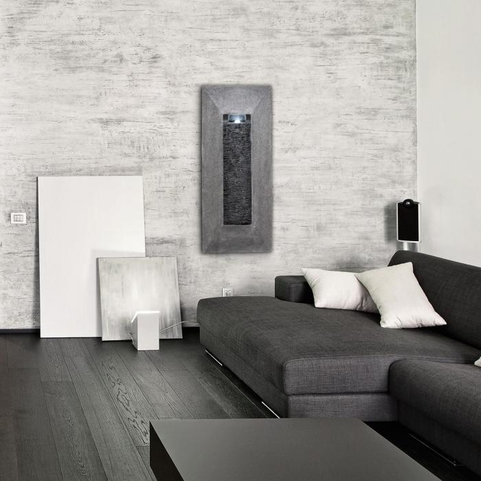 Niagara väggfontän LED 37x88x9 cm pump natursten-utseende