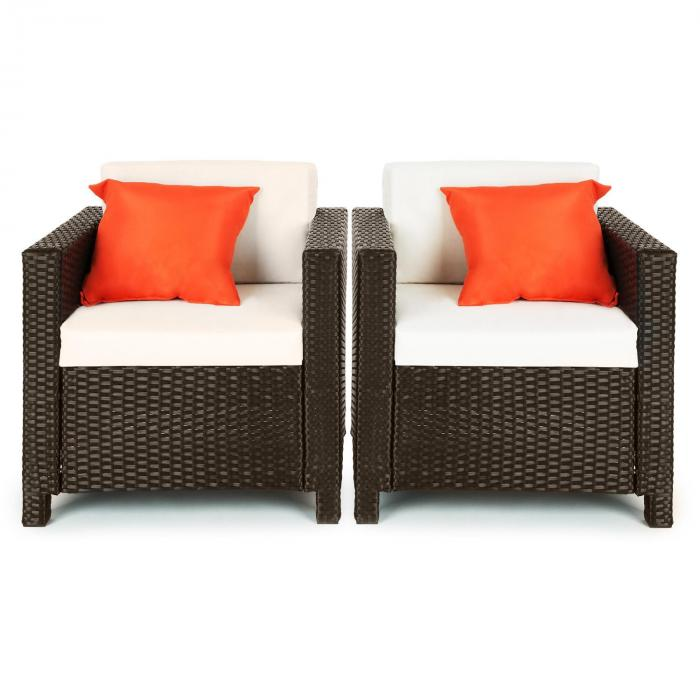 verona gartengarnitur 4 teilig polyrattan braun beige orange braun beige orange online kaufen. Black Bedroom Furniture Sets. Home Design Ideas