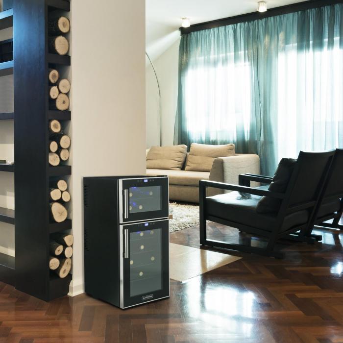 reserva 21 weink hlschrank 2 zonen 56 l 21 flaschen klasse d schwarz online kaufen. Black Bedroom Furniture Sets. Home Design Ideas