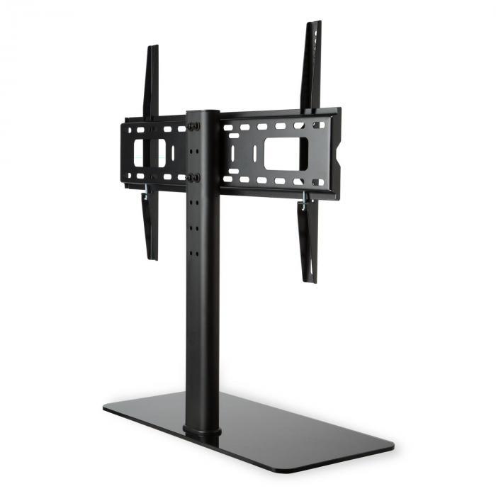 Stojak TV rozmiar L wysokośc 76 cm regulacja wysokości 23-55 cali szklana stopa czarny