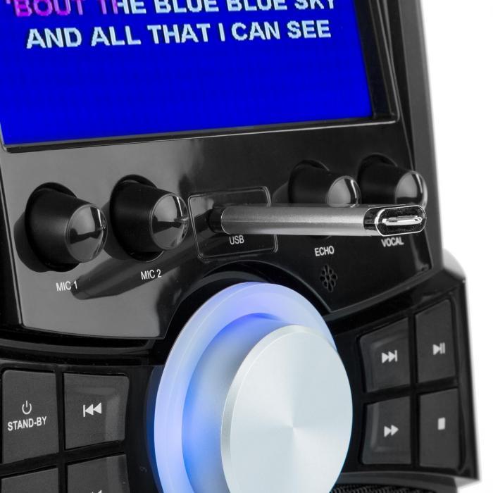 """Stage Hero karaokelaite Bluetooth DVD 7"""" TFT 2 mikrofonia akku"""