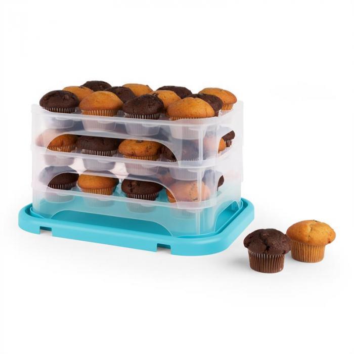 Blaukäppchen XL Campana per Torte Porta Cupcake 36 pz. 34,5x25x25,5cm blu