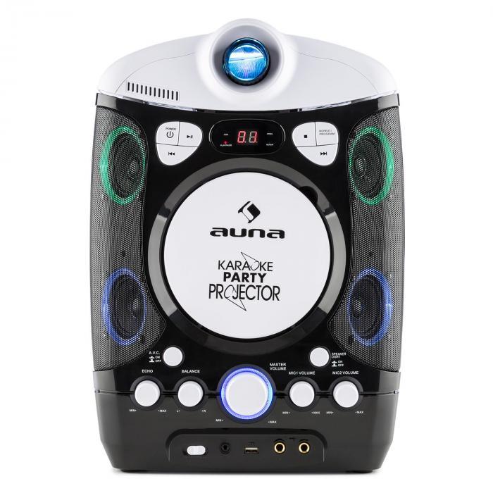 KaraProjectura Impianto Karaoke con Proiettore Effetti Luce LED nero-grigio