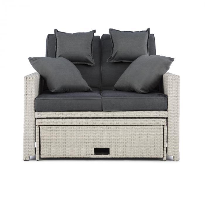 Komfortzone Rattan Lounge Sofá de Dois Lugares Mesa Dobrável Branco